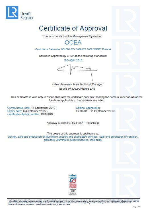 Certification OCEA